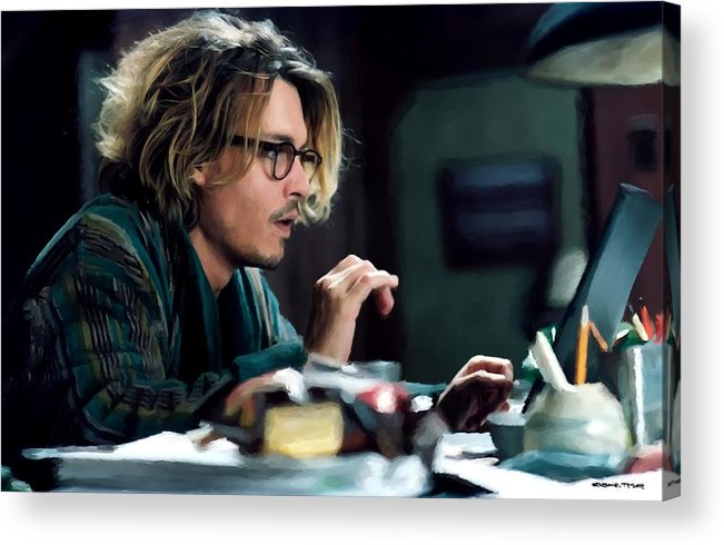 David Koepp Films Acrylic Print featuring the digital art Johnny Depp as Mort Rainey @ Secret Window by Gabriel T Toro