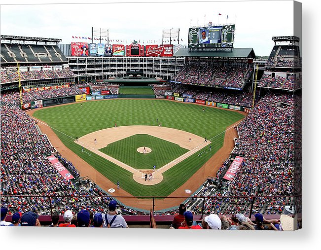 American League Baseball Acrylic Print featuring the photograph Kansas City Royals V Texas Rangers by Rick Yeatts