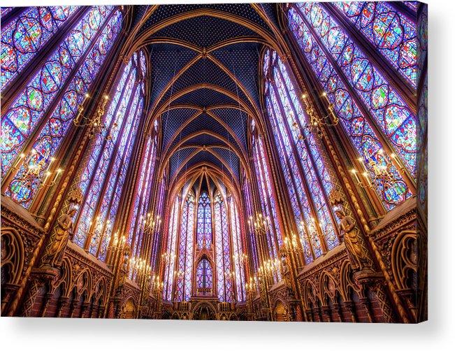 Arch Acrylic Print featuring the photograph La Sainte-chapelle Upper Chapel, Paris by Joe Daniel Price