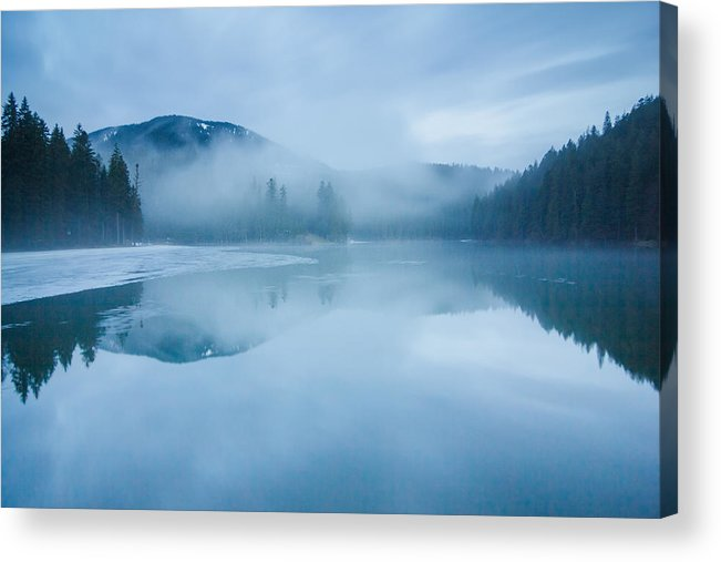 Scenics Acrylic Print featuring the photograph Lake Surrounded By Mountains And Forest by Verybigalex
