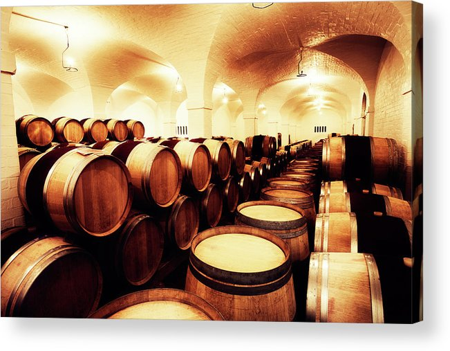 Alcohol Acrylic Print featuring the photograph Large Winery Cellar Filled With Oak by Rapideye