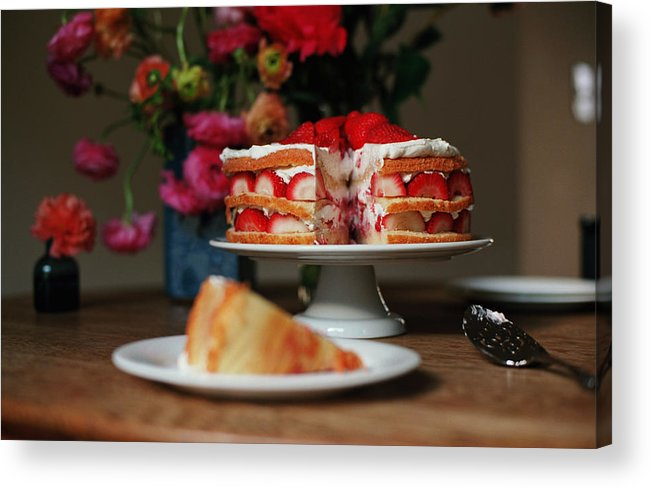 Vanilla Acrylic Print featuring the photograph Layered Strawberry Cake With Background by Katie Baxter