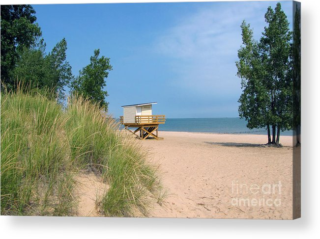 Landscape Acrylic Print featuring the photograph Life Guard Station by Cedric Hampton
