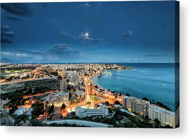 Built Structure Acrylic Print featuring the photograph Lights In The City by Photographer Of The World