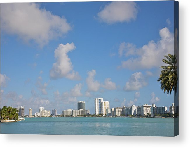 Residential District Acrylic Print featuring the photograph Line Of White Residential Towers Above by Barry Winiker