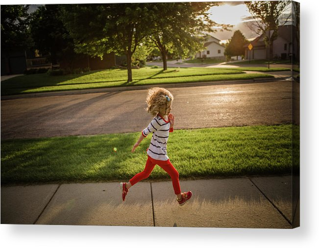 4-5 Years Acrylic Print featuring the photograph Little Girl Running by Annie Otzen
