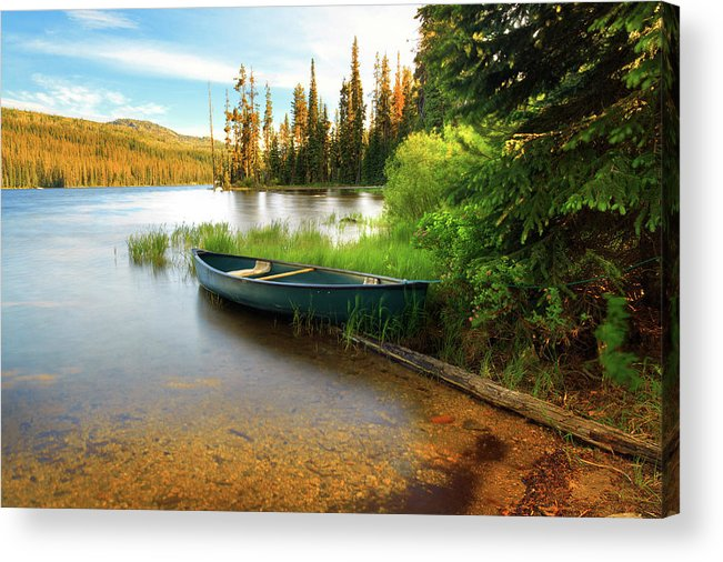 Tranquility Acrylic Print featuring the photograph Lone Canoe On Shores Of Upper Payette by Anna Gorin