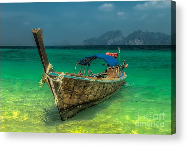 Koh Lanta Acrylic Print featuring the photograph Long Tail Boat Thailand by Adrian Evans