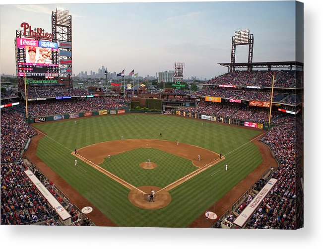 American League Baseball Acrylic Print featuring the photograph Los Angeles Angels Of Anaheim V by Mitchell Leff