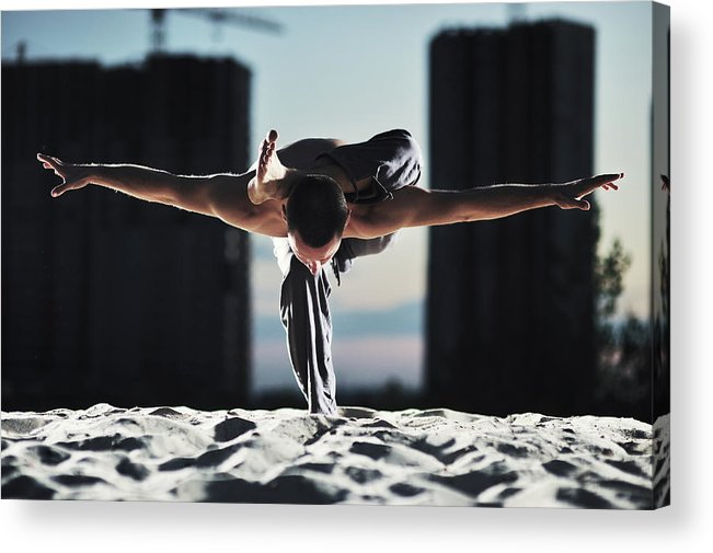 People Acrylic Print featuring the photograph Man Holding Yoga Pose In The Sand by Myshkovsky