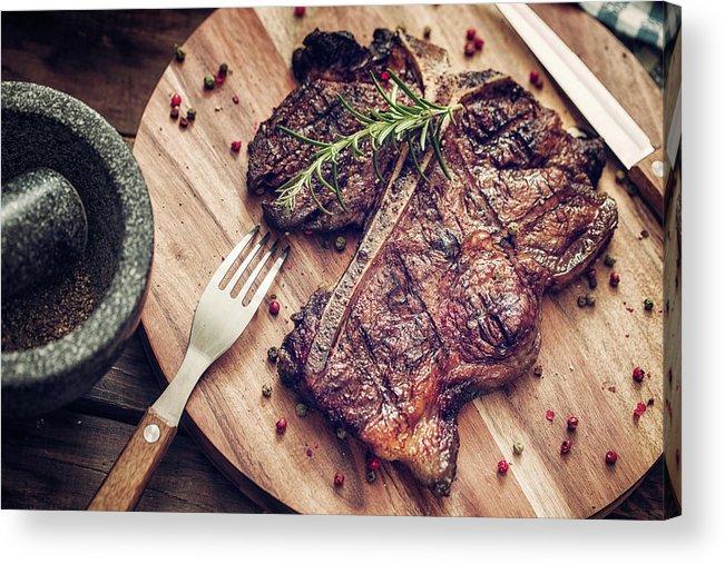 Rosemary Acrylic Print featuring the photograph Medium Roasted T-bone Steak by Gmvozd