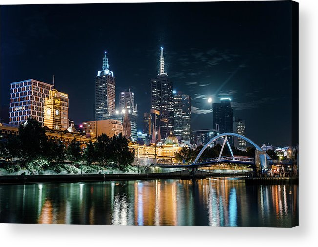 Clock Tower Acrylic Print featuring the photograph Melbourne In Night by Kenji Lau