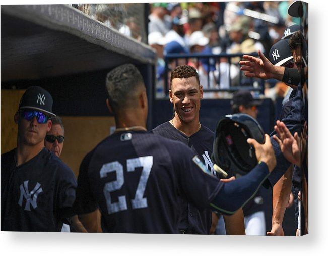 People Acrylic Print featuring the photograph Miami Marlins v New York Yankees by Mark Brown