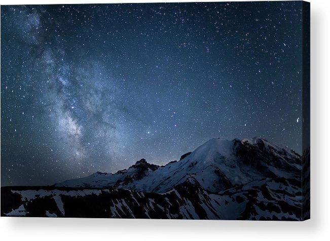 Scenics Acrylic Print featuring the photograph Milky Way Over Mount Rainier by Ed Leckert