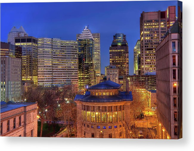 Tranquility Acrylic Print featuring the photograph Montreal Downtown At Dusk Hdr II by Jean Surprenant