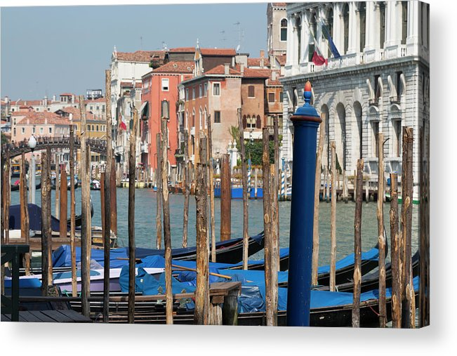 Tranquility Acrylic Print featuring the photograph Moored Gondolas On The Grand Canal by Martin Child