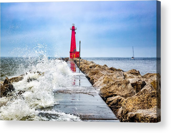 Lake Michigan Acrylic Print featuring the photograph Muskegon Channel South Pier Lighthouse and Wave, Lake Michigan by Photography by Deb Snelson