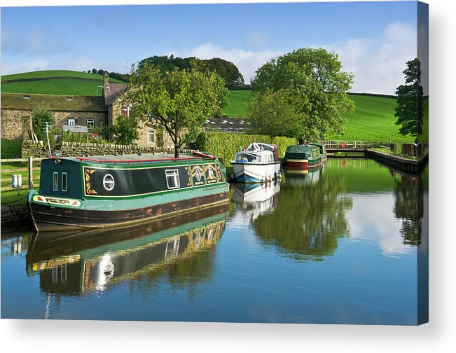 England Acrylic Print featuring the photograph Narrowboats Moored Next To Farm On The by Tim Makins