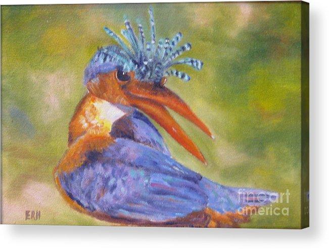 Bird Acrylic Print featuring the painting New Do by Elizabeth Rieke Hefley