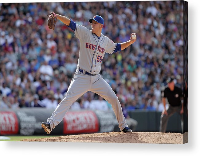 Relief Pitcher Acrylic Print featuring the photograph New York Mets V Colorado Rockies by Doug Pensinger