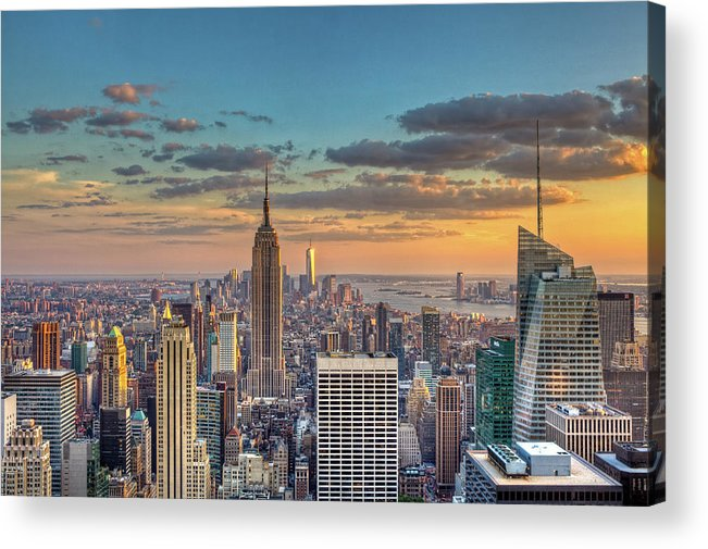 Tranquility Acrylic Print featuring the photograph New York Skyline Sunset by Basic Elements Photography