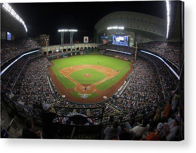 American League Baseball Acrylic Print featuring the photograph New York Yankees V Houston Astros by Bob Levey