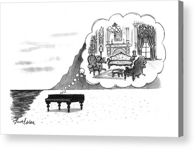 (the Piano On A Desolate Beach Wishing It Was In A Nice Parlor.)  No Caption Piano On Beach Has Mental Image Of Comfortable Victorian Parlor. Refers To Jane Campion's Film  Acrylic Print featuring the drawing New Yorker January 24th, 1994 by Mort Gerberg