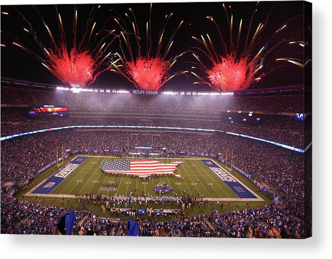 Firework Display Acrylic Print featuring the photograph Nfl Sep 18 Lions At Giants by Icon Sportswire