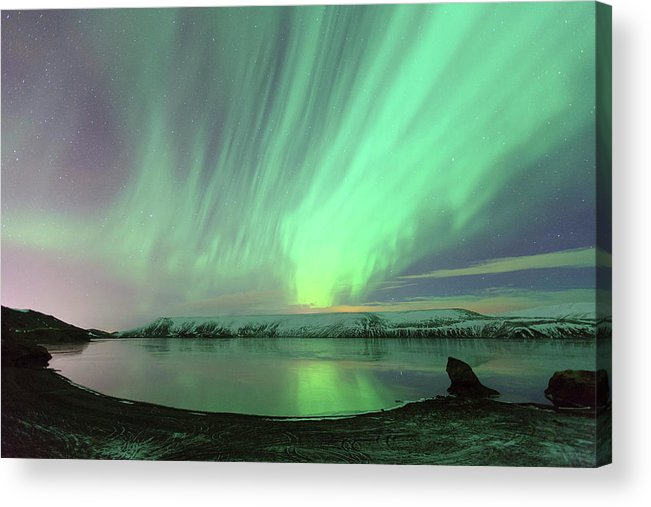 Scenics Acrylic Print featuring the photograph Northern Lights In Iceland by By Chakarin Wattanamongkol