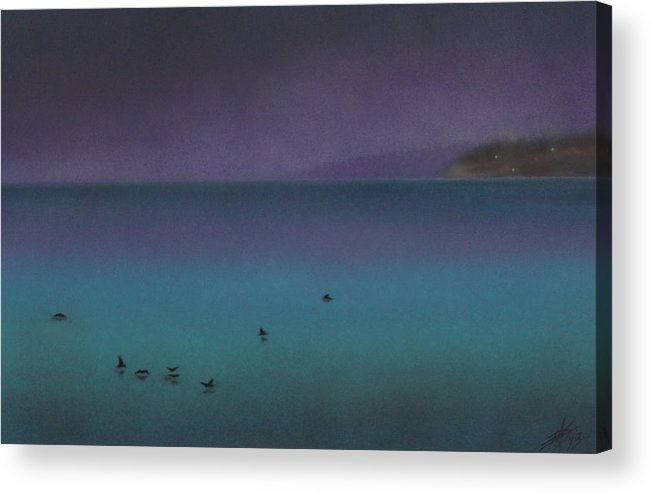 Nature Acrylic Print featuring the painting Ocean of Glass with Seabirds by Robin Street-Morris