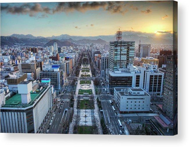 Hokkaido Acrylic Print featuring the photograph Odori Park Sunset by Daniel Chui