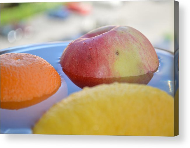 Apple Acrylic Print featuring the photograph Orange Yellow Red Green And Some Water by Adrian Bud