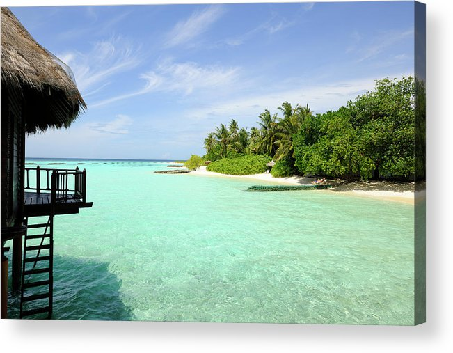 Seascape Acrylic Print featuring the photograph Outlook On A Maldives Island by Wolfgang steiner