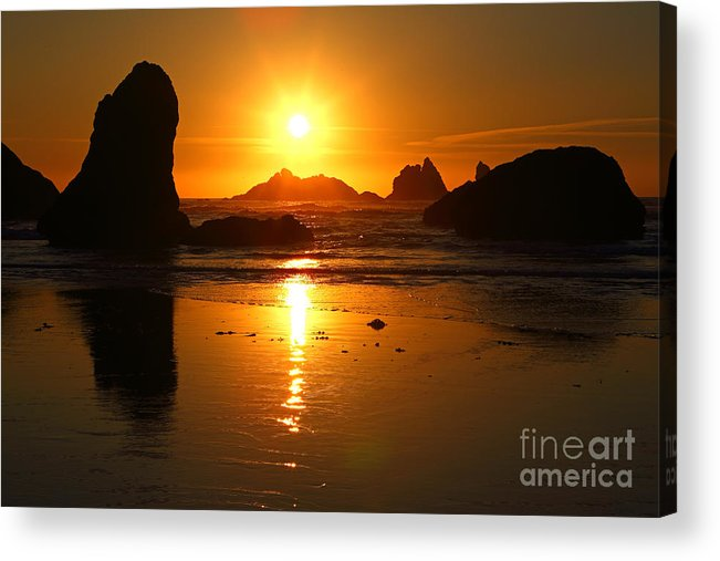 Bandon Acrylic Print featuring the photograph Pacific Sunset by Bill Singleton