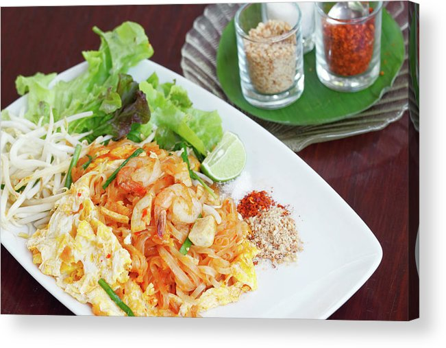 Prawn Acrylic Print featuring the photograph Pad Thai by Tommyix