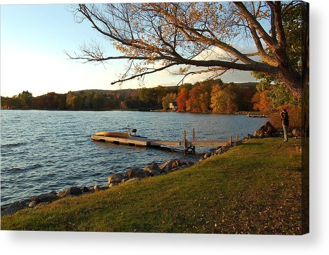 Autumn Acrylic Print featuring the photograph Peaceful Moment on the Lake by Judy Swerlick