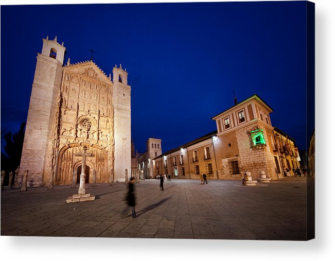 People Acrylic Print featuring the photograph People crossing from church of St. Paul by Jesus Gonzalez