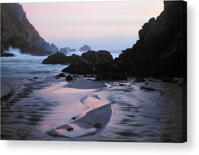 Water's Edge Acrylic Print featuring the photograph Pfeiffer Beach Rocks, Purple Sand And by Terryfic3d