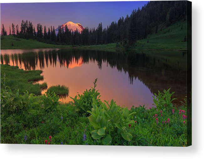 Mount Rainier Acrylic Print featuring the photograph Rainier Reflections by Manju Shekhar