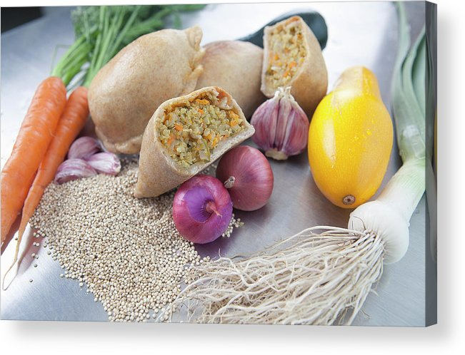Healthy Eating Acrylic Print featuring the photograph Raw Vegetables With Cooked Pastries by Laurie Castelli
