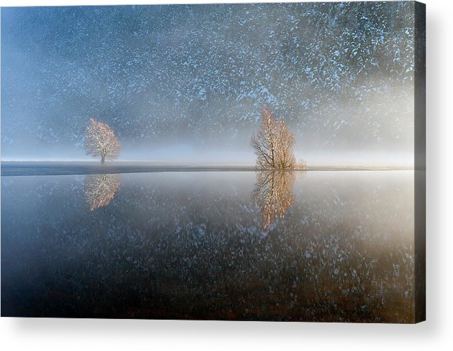 Scenics Acrylic Print featuring the photograph Reflections In A Lake In Winter, French by Jean-pierre Pieuchot