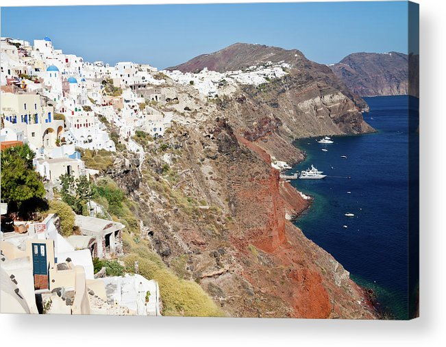Tranquility Acrylic Print featuring the photograph Rows Of Houses Perch On Cliff In Oia by Melissa Tse