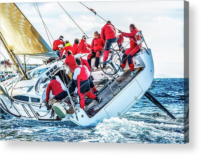 Adriatic Sea Acrylic Print featuring the photograph Sailing Crew On Sailboat During Regatta by Mbbirdy