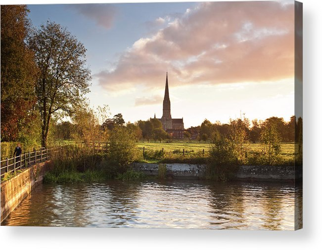 Tranquility Acrylic Print featuring the photograph Salisbury Cathedral And The River Avon by Julian Elliott Photography