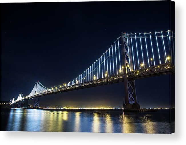 California Acrylic Print featuring the photograph San Francisco Bay Bridge With Led Lights by Halbergman