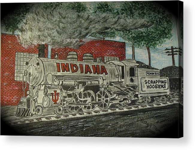 Scrapping Hoosiers Acrylic Print featuring the painting Scrapping Hoosiers Indiana Monon Train by Kathy Marrs Chandler