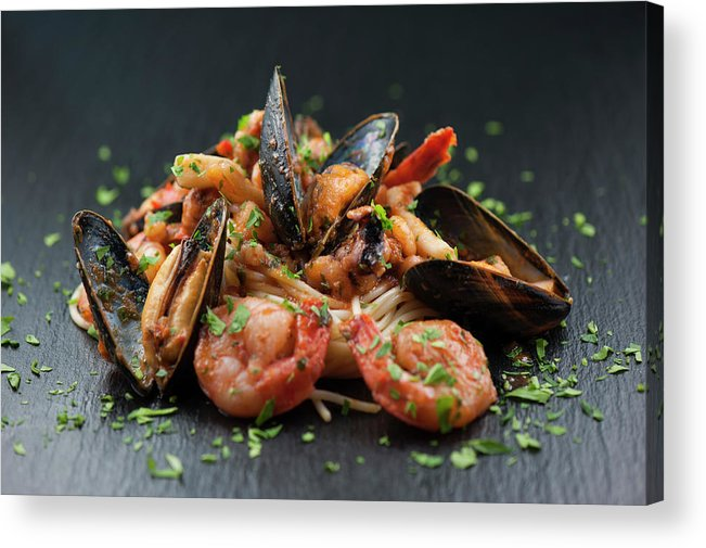 Prawn Acrylic Print featuring the photograph Seafood Pasta by Cbording