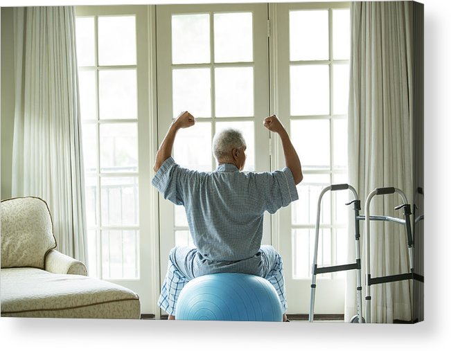 Human Arm Acrylic Print featuring the photograph Senior African American Man On Fitness by Tvp Inc