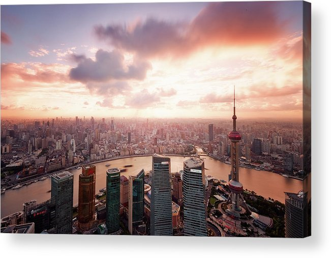 Tranquility Acrylic Print featuring the photograph Shanghai With Drifting Clouds by Blackstation
