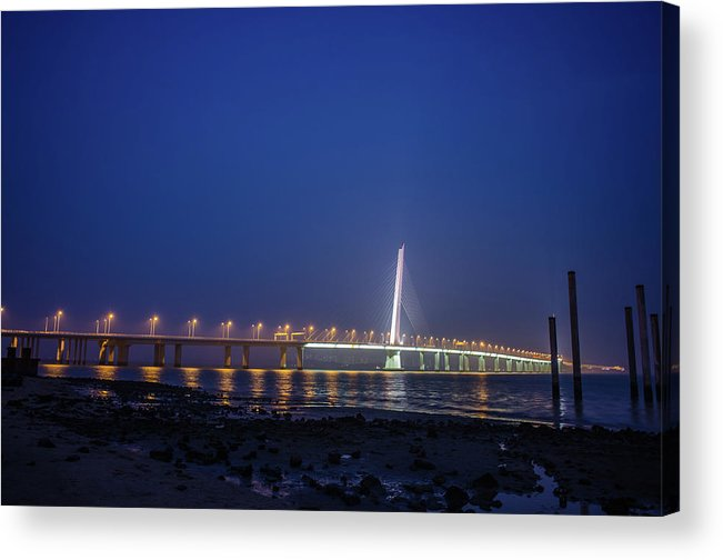 Tranquility Acrylic Print featuring the photograph Shenzhen Bay Bridge by Jeff Chen